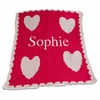 Personalized Floating Hearts and Scalloped Edge Name Blanket