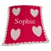 Personalized Floating Hearts and Scalloped Edge Name Stroller Blanket