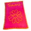 Personalized Flower and Scalloped Edge Blanket