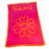 Personalized Flower and Scalloped Edge Stroller Blanket