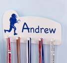 Personalized Football Medal Holder in White