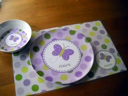 Personalized Girls 3-Piece Dinnerware Set