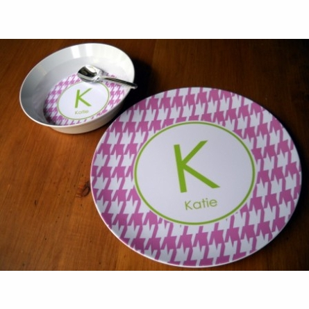 Personalized Girls Plate & Bowl Set