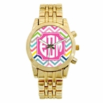 Personalized Gold Plated Boyfriend Watch - Multi Chevy