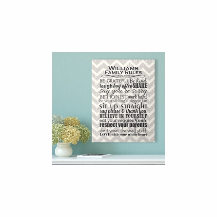 Personalized Gray Chevron Family Rules Canvas Reproduction