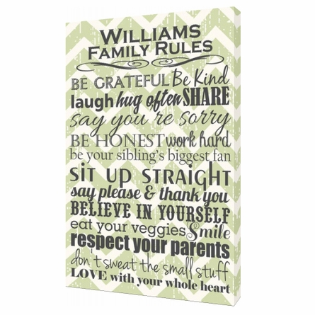Personalized Green Chevron Family Rules Canvas Reproduction