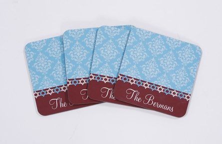 Personalized Hanukkah Coaster Set