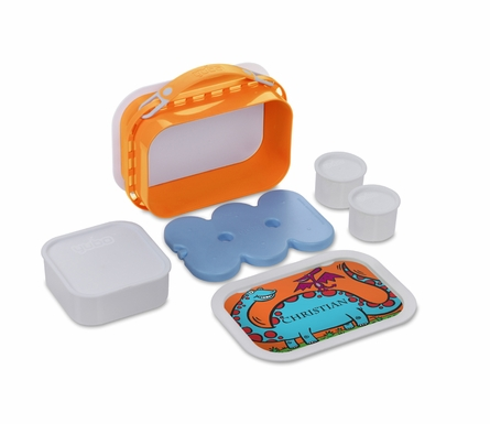 Personalized Happy Dinos Lunch Box - Orange