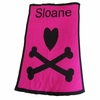 Personalized Heart and Crossbones Acrylic Name Stroller Blanket