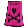 Personalized Heart and Crossbones Name Blanket