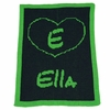 Personalized Heart and Initial Name Blanket