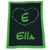 Personalized Heart and Initial Name Stroller Blanket