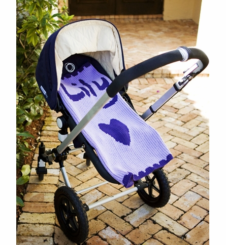 Personalized Heart and Scallops Name Stroller Blanket