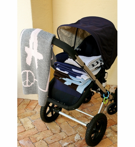 Personalized Heart and Scallops Stroller Blanket