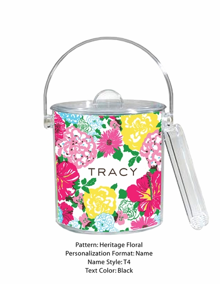 Personalized Ice Bucket in Heritage Floral