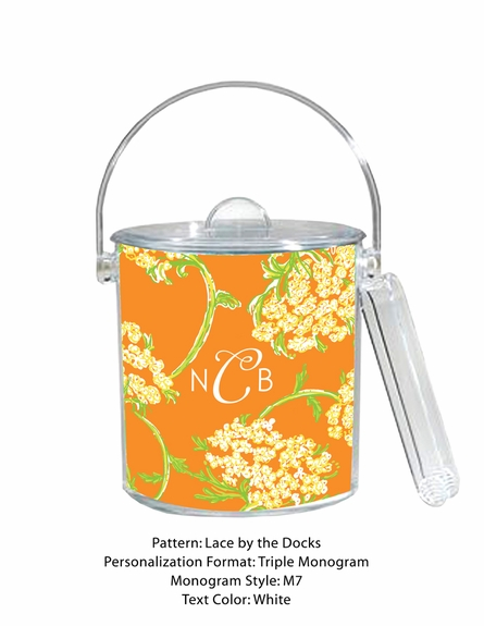 Lilly Pulitzer Personalized Ice Bucket in Lace by the Docks