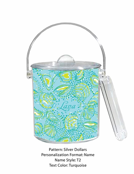Personalized Ice Bucket in Silver Dollars