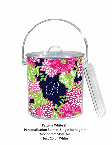 Lilly Pulitzer Personalized Ice Bucket in White Zin