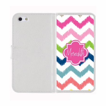 Personalized iPhone Wallet Case in Multi Chevron