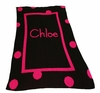 Personalized Large Polka Dot Solid Framed Name Blanket