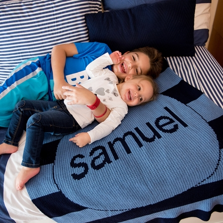 Personalized Modern Striped Name Blanket