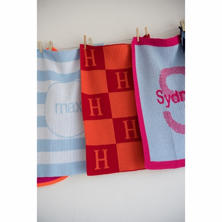 Personalized Modern Striped Name Stroller Blanket