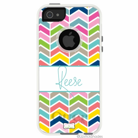 Personalized Otterbox iPhone Case in Happy Herringbone