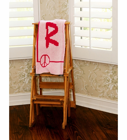 Personalized Initial Peace Sign Framed Blanket