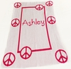 Personalized Peace Sign Framed Name Stroller Blanket