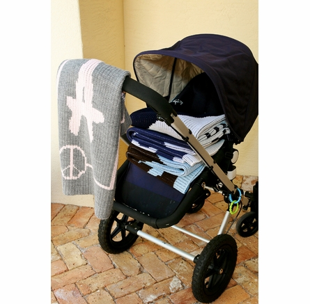 Personalized Peace Sign Framed Stroller Blanket