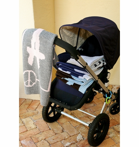 Personalized Peace Sign Name Stroller Blanket