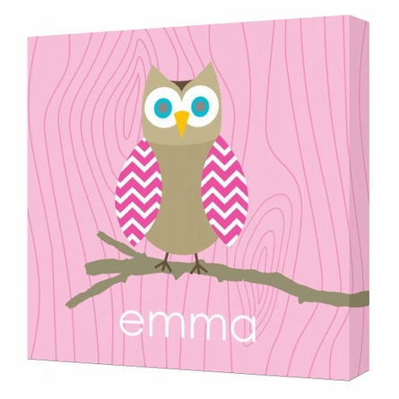 Personalized Pink Owl Canvas Reproduction