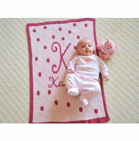 Personalized Polka Dot Initial Blanket