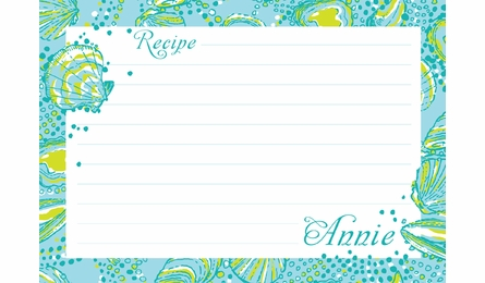 Lilly Pulitzer Personalized Recipe Box in Silver Dollars