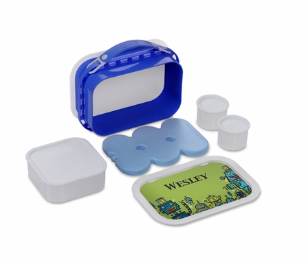 Personalized Robots Lunch Box - Blue