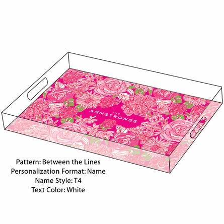 Lilly Pulitzer Personalized Serving Tray in Between the Lines - Large