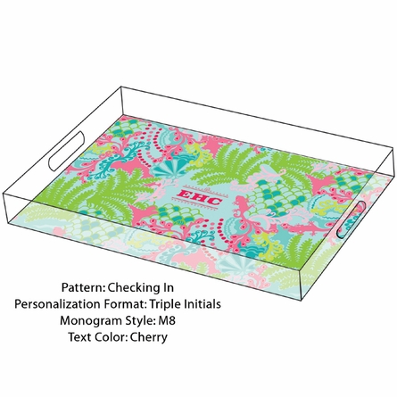 Lilly Pulitzer Personalized Serving Tray in Checking In - Large