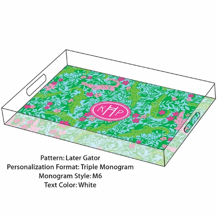 Lilly Pulitzer Personalized Serving Tray in Later Gator - Large