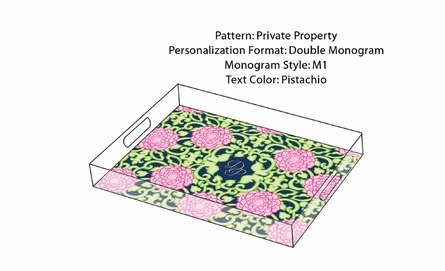 Lilly Pulitzer Personalized Serving Tray in Private Property - Small