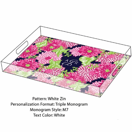 Lilly Pulitzer Personalized Serving Tray in White Zin - Large