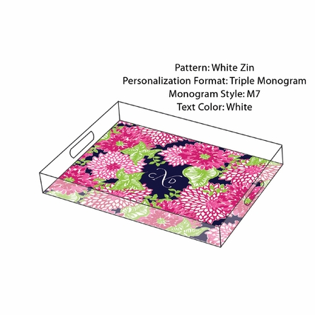Lilly Pulitzer Personalized Serving Tray in White Zin - Small