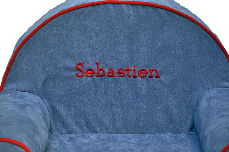 Personalized Toddler Chair Blue Microsuede