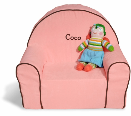 Personalized Toddler Chair - Pink Microsuede