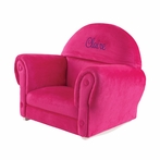 Personalized Upholstered Rocker with Bubblegum Slipcover