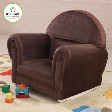 Personalized Upholstered Rocker with Chocolate Slipcover