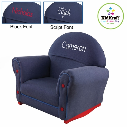 Personalized Upholstered Rocker with Denim Slipcover
