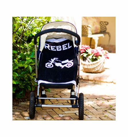 Personalized Vintage Motorcycle Name Stroller Blanket