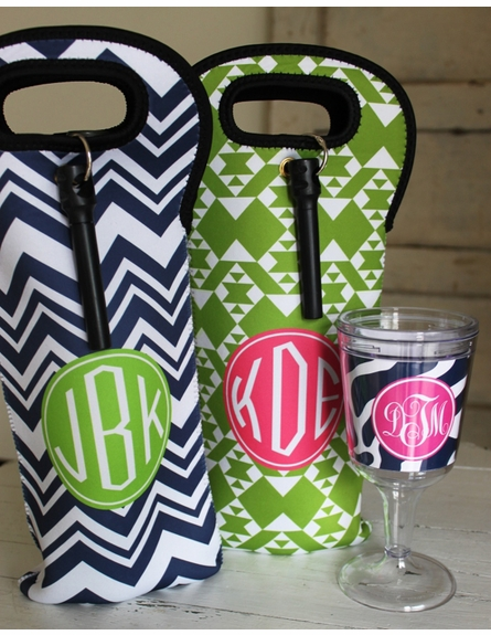 Personalized Wine Bag - Monogram Circle
