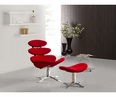 Petal Lounge Chair and Ottoman Set in Red