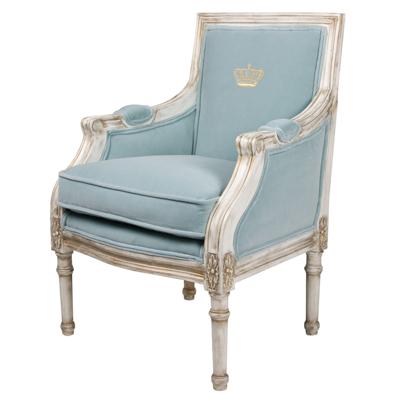 Petit Louis XVI Bergere Chair in Empress Blue Fabric with